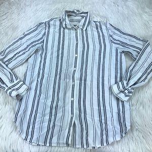 Everlane Striped Button Front Silk Shirt